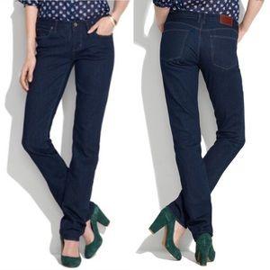 Madewell Dark Blue Rail Straight Mid-Rise Jeans